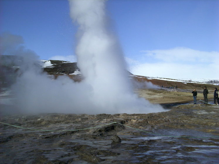 . Strokkur is belongs to Haukadalur valley where various geothermal features such as mud pools, fumaroles and other geysers are located around it, such as the famous Geysir geyser.