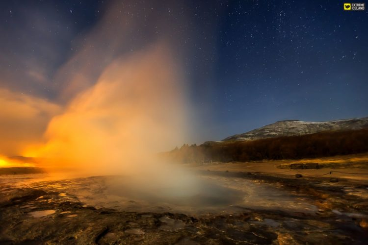 "The term Geysir (Engl. Geyser) is itself derived from the Icelandic word ""geysa"" which means to gush."