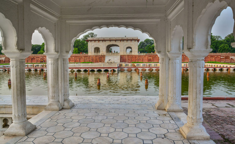 The Mughal garden is symbolized by enclosing walls, a four-sided layout of paths and features, and huge amplitude of flowing water.