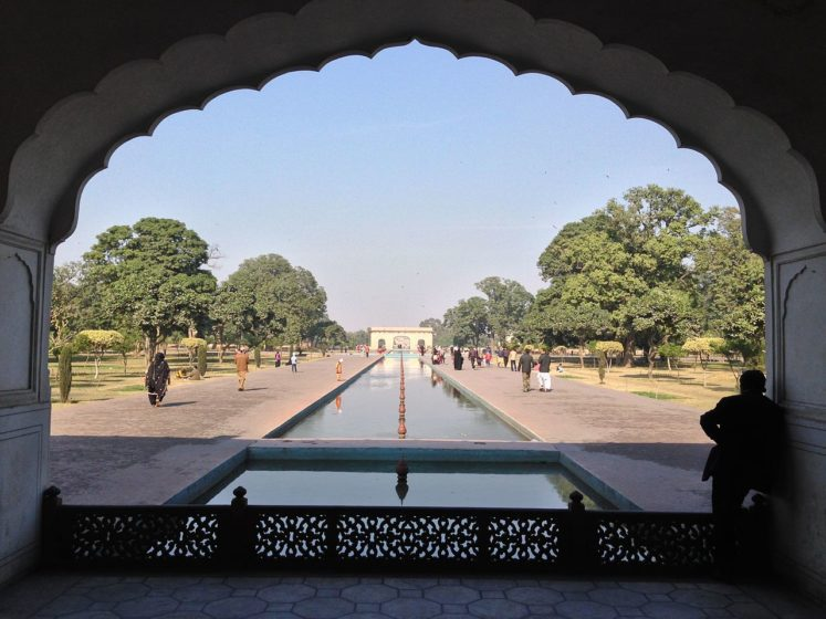 Shalimar Gardens draws inspiration from Central Asia, surrounded by a high brick wall, which is famous for its intricate fretwork.