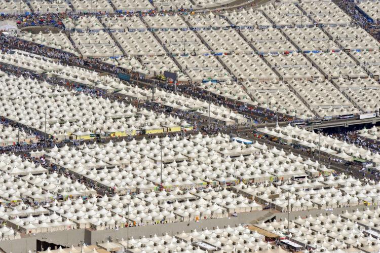 The Mina valley where Jamarat Bridge is located, pilgrims perform stoning to Shatan (Devil) between sunrise and sunset on the last day of Hajj.