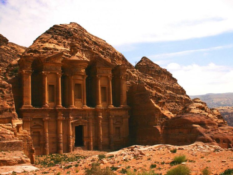 Petra, in Jordan, was the capital city of the Nabateans, a pagan civilization. The famed city was built from the surrounding red sandstone.
