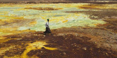 The Danakil Depression in Ethiopia Danakil Desert is one of the hottest inhabited places on planet, with temperatures ranging from 95 degrees Fahrenheit to as high as 145 degrees.