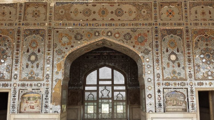 The Sheesh Mahal is elaborately decorated with a myriad of reflective glass tiles.