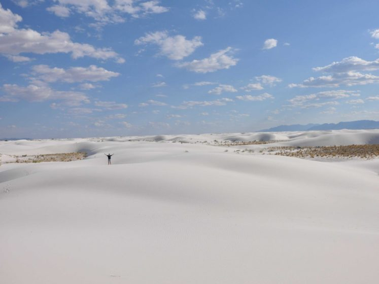 The white gypsum sand dunes at White Sands National Monument in New Mexico look like snow, and cover 275 square miles of desert.