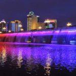 """Moonlight Rainbow"" Worlds Longest Fountain Bridge"