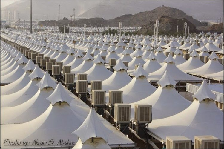 More than 120,000 air conditioned tents provide temporary shelter to over 3 million pilgrims during Hajj days.