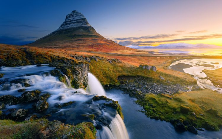 Mt. Kirkjufell (463 m) is the most prominent mountain near the town of Grundarfjörður. It is most beautiful landmark and photographed mountain in Iceland the icon of the Snaefellsnes Peninsula.