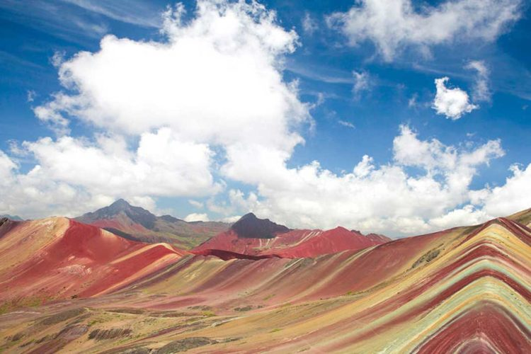 """However, this """"painted mountain"""" is notoriously difficult to find and get to, requiring several days of hiking to reach its peak deep within the Andes by way of Cusco."""