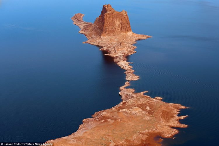 An aerial picture taken by Jassen Todorov of Lake Powell in Utah, which is a major reservoir on the Colorado River