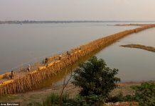 A 3,300 long Bamboo Bridge is taken down and rebuilt every year contains 50,000 sticks of bamboo, link Kampong Cham with Koh Paen Island.