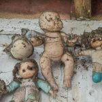 The dolls appear menacing even in the bright light of midday, but in the dark they are particularly haunting.