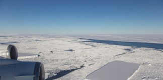 They saw an incredible IceBridge spotted precisely cut rectangular piece of the iceberg floating amidst a jumble of broken ice, everybody thought it was pretty interesting