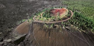 There is a 500 feet tall Cinder Cone Lave Butte in central Oregon between the towns of Bend Oregon and Sunrivr Oregon.