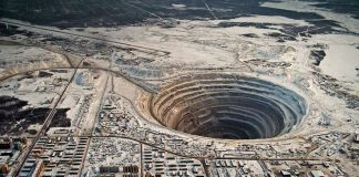 Mir Mine is actually a diamond mine located in Mirny Eastern Siberia Russia. It is also called Mirny Mine, and when it was decided to close in 2004.
