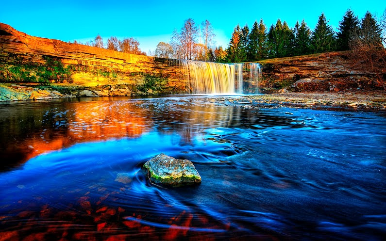 Jägala Waterfall is a widest natural waterfall in the lower course of the Jägala River Estonia, approximately 4 km before the river flows into the Gulf of Finland.