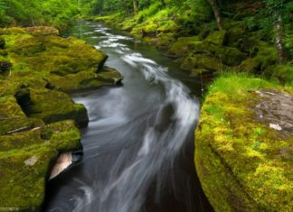 """Although it's a small innocuous-looking mountain stream, around 6 feet across, famous as Bolton Strid or simply the """"Strid""""."""