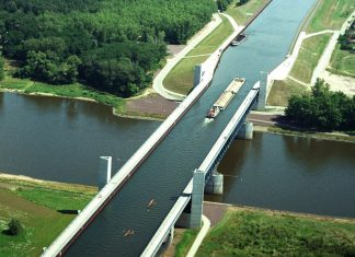 The most famous water bridge is the Magdeburg Water Bridge in Germany, the longest and the most impressive in the world.