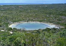 The Watlings Blue Hole is located on the Bahamian island of San Salvador.