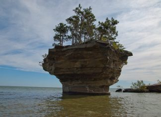 It is wondrous stack formation located in Lake Huron a few meters off the coast in Port Austin.