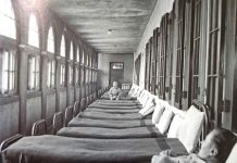 Psychiatric Ward - An almost empty ward ina mental hospital in Ohio in 1946. While sleep treatment was still being used at this time to treat schizophrenics, the new technique of lobotomy was comin into vogue. This operation involved surgically removing part of the brain. Between 1945 and 1954, it is estimated that some 100,000 people were lobotomised, half of them in the United States.