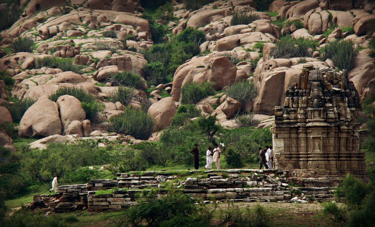 The Bhodesar Temple is at the base of the Karoonjhar Mountains.