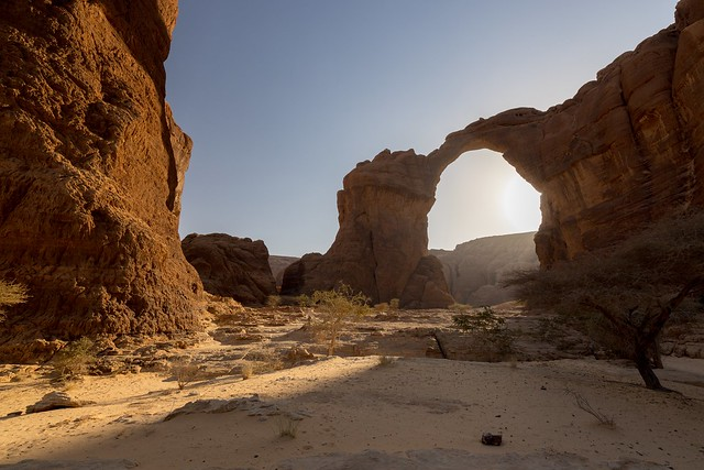 A Natural large Aloba Arch is located in the complex mountainous Ennedi Plateau of Chad.