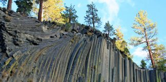 Devils Postpile National Monument, near Mammoth Lakes in the Eastern Sierra.