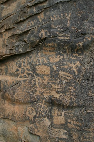 Petroglyphs located in Keyhole Sink on the Williams Ranger District of the Kaibab National Forest. Photo credit to U.S. Forest Service, Southwestern Region, Kaibab National Forest.