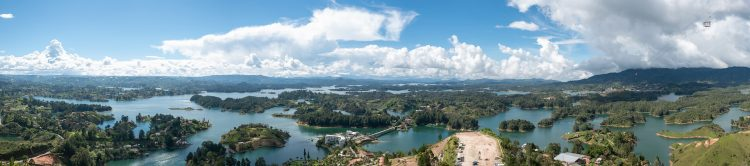 The view from atop of this 70-million-year-old rock is unimaginable an enormous lake full of small islets.