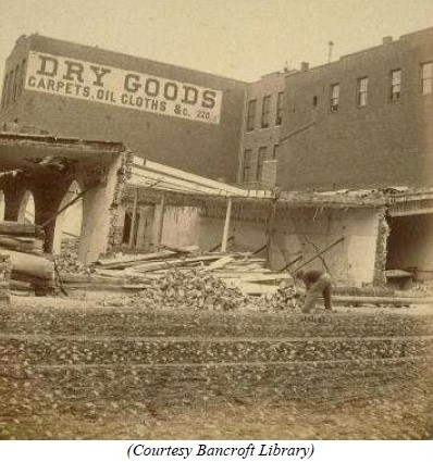 At the corner of Mission and Fremont Streets was the Brokaw's Mill, which suffered a significant amount of damage.