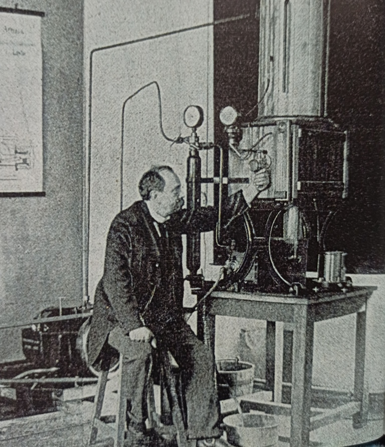Looking to the Future - Arsene d'Arsonval in 1910, photographed in a newly established laboratory at Nogent sur Marne which he headed until 1931.