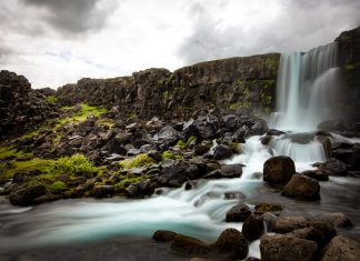 Oxararfoss (or more accurately) Öxarárfoss Waterfall Iceland is situated in Þingvellir National Park.