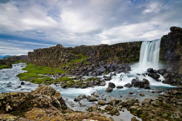 Oxararfoss Waterfall Iceland is a busy, but interesting and scenic walk through Icelandic history with some gorgeous lichen and wildflowers.