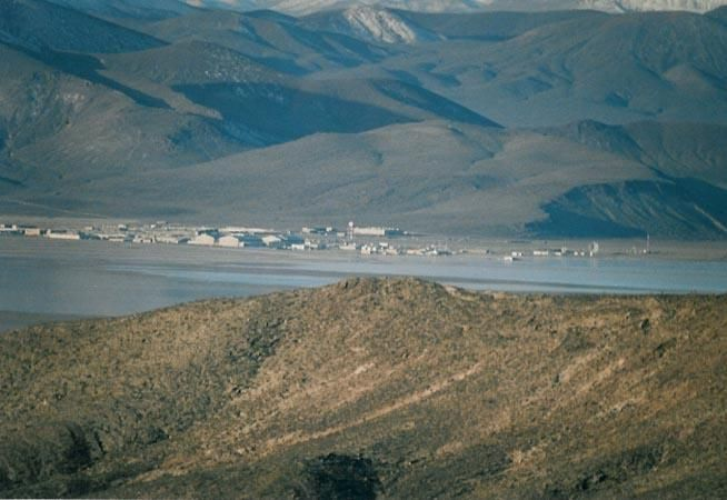 Groom Lake lead and silver were discovered in the southern part of the Groom Range in 1864.